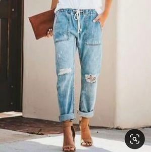 Distressed Jogger Loose Fit Jeans